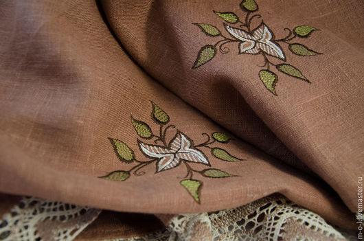 Текстиль, ковры ручной работы. Ярмарка Мастеров - ручная работа. Купить Льняная скатерть с машинной вышивкой «кофе вдвоем». Handmade.