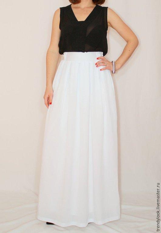 Юбки ручной работы. Ярмарка Мастеров - ручная работа. Купить Белая юбка из шифона, длинная юбка с карманами. Handmade. Однотонный