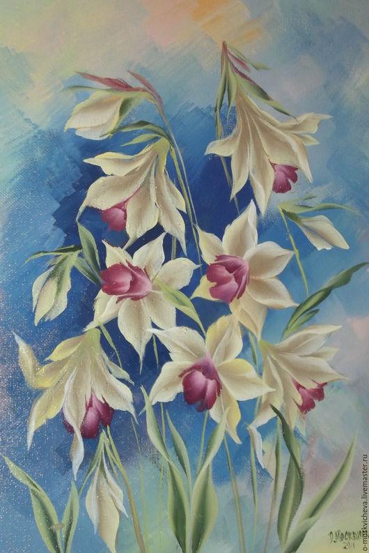"""Картины цветов ручной работы. Ярмарка Мастеров - ручная работа. Купить Картина на холсте """"Нарциссы"""". Handmade. Синий, роспись на холсте"""