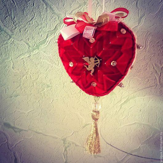 Подарки для влюбленных ручной работы. Ярмарка Мастеров - ручная работа. Купить Сердце подвеска интерьерная. Handmade. Ярко-красный, сердце