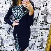 Одежда ручной работы. Ярмарка Мастеров - ручная работа Платье синее со вставками. Handmade.