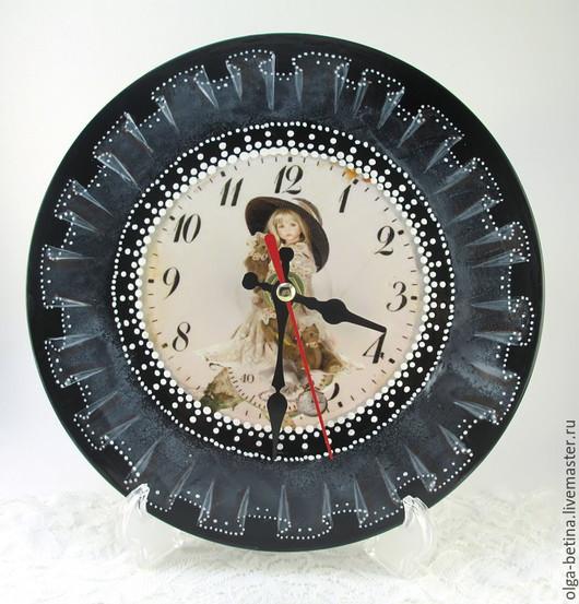 Часы для дома ручной работы. Ярмарка Мастеров - ручная работа. Купить Часики с вуалью. Handmade. Чёрно-белый, часы интерьерные