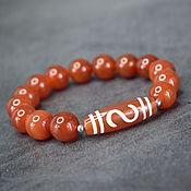 Украшения handmade. Livemaster - original item Natural carnelian bracelet with a ji bead money hook. Handmade.