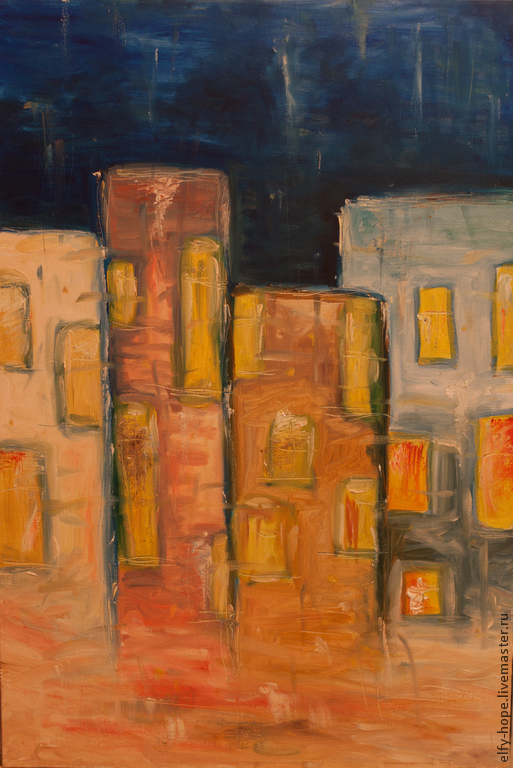 Абстракция ручной работы. Ярмарка Мастеров - ручная работа. Купить Картина маслом Дождь за окном 40х60. Handmade. Желтый