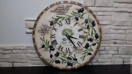 Часы для дома ручной работы. Ярмарка Мастеров - ручная работа. Купить Часы Оливковое настроение. Handmade. Бежевый, часы в подарок