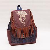 Джинсовый рюкзак женский с бахромой с вышивкой Дракон