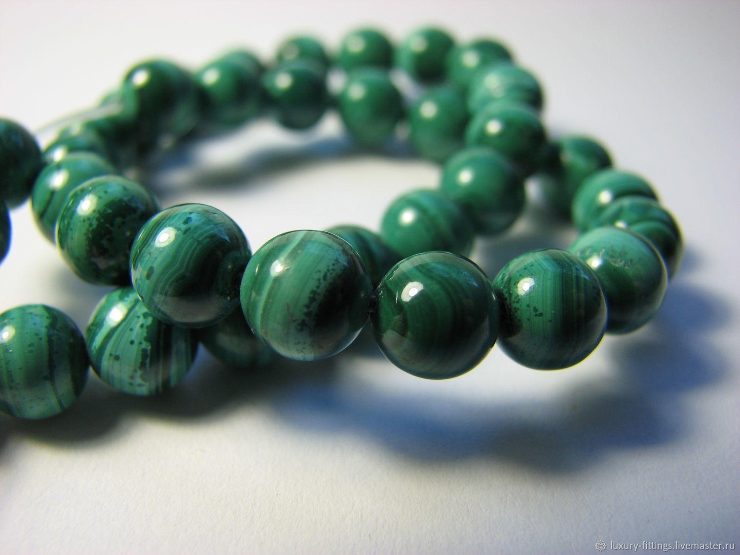 Natural malachite beads, African. Zaire, 6 mm light, Beads1, Moscow,  Фото №1
