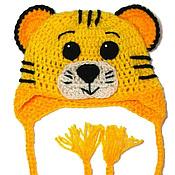 """Работы для детей, ручной работы. Ярмарка Мастеров - ручная работа Детская шапочка """"Тигр"""" (шапка тигренок желтый теплая зимняя с ушками). Handmade."""