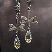Украшения handmade. Livemaster - original item Crystal drop earrings with dragonflies.Brass and silver.Crystal AB.. Handmade.