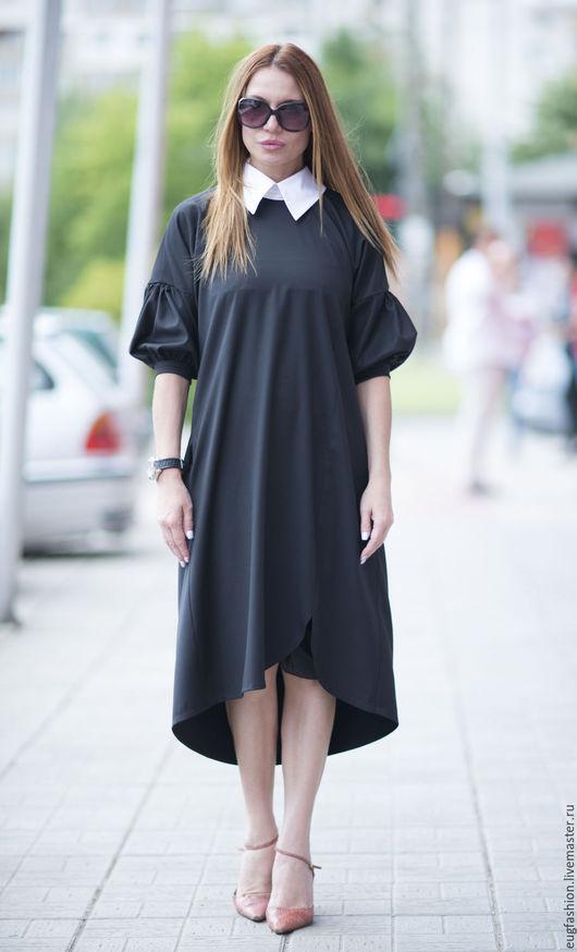 Черное платье. Платье из поливискозы. Платье с рукавами. Белый воротничок. Свободный крой. Купить платье.