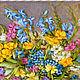 """Картины цветов ручной работы. Заказать Картина  вышитая лентами """"ЦВЕТЫ В СИНЕЙ ВАЗЕ"""". Картинная галерея NS. Ярмарка Мастеров."""