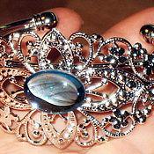 """Украшения ручной работы. Ярмарка Мастеров - ручная работа Браслет """"Небеса"""" опаловое стекло, серебрение. Handmade."""