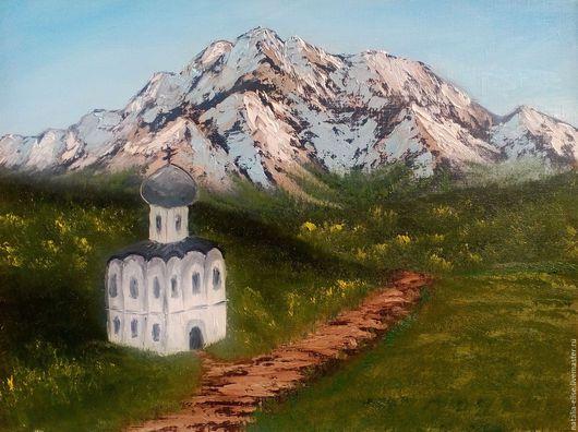Картина маслом ручной работы. Храм у подножья гор.