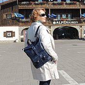 Сумки и аксессуары handmade. Livemaster - original item Backpack leather womens blue Mystery Mod SR33-661. Handmade.