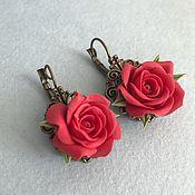handmade. Livemaster - original item Earrings with red roses. Handmade.