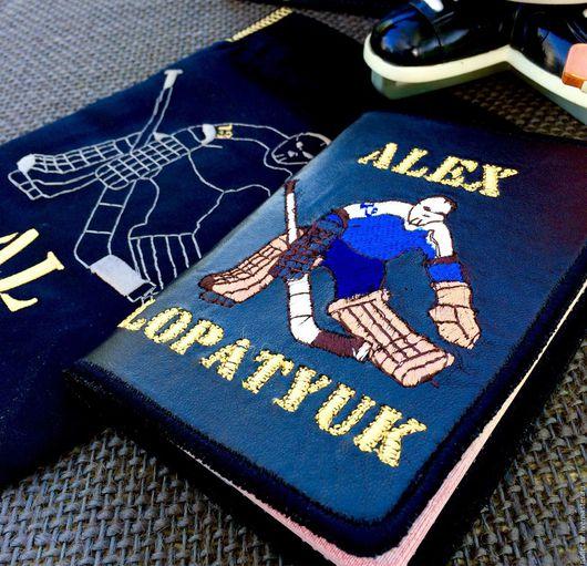 """Обложки ручной работы. Ярмарка Мастеров - ручная работа. Купить Именная обложка на паспорт """"В хоккей играют настоящие мужчины !"""". Handmade."""