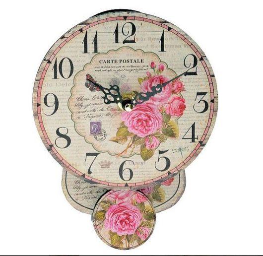 Винтажные предметы интерьера. Ярмарка Мастеров - ручная работа. Купить Часы с маятником в стиле шебби Розы. Handmade. Для интерьера