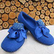 """Обувь ручной работы. Ярмарка Мастеров - ручная работа валяные тапочки """" Сапфир"""". Handmade."""