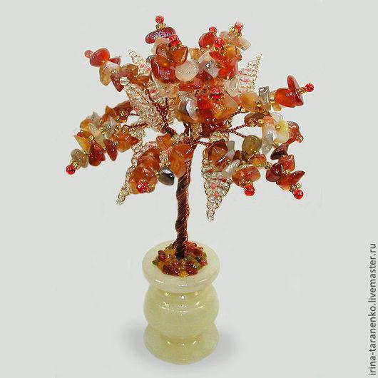 Миниатюрное дерево жизни из сардоникса в вазочке из оникса