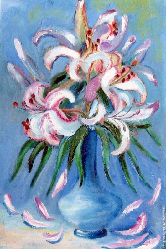Картины цветов ручной работы. Ярмарка Мастеров - ручная работа. Купить розовые лилии. Handmade. Голубой, картина с цветами