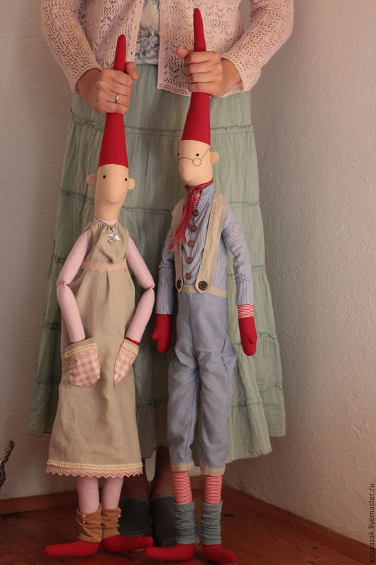 Куклы Тильды ручной работы. Ярмарка Мастеров - ручная работа. Купить БольшиеГномы Майлег Мари и Магнус. Handmade. Ярко-красный