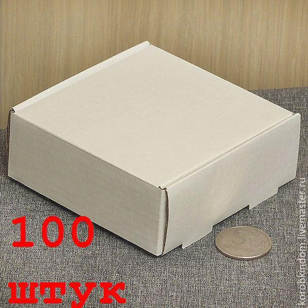 100 штук - 9х9х3,5 из микрогофрокартона белого коробка, Упаковка, Санкт-Петербург, Фото №1