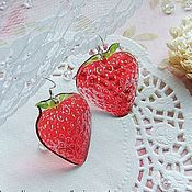 Украшения handmade. Livemaster - original item Transparent Earrings Red Berries Strawberry Jewelry Resin. Handmade.
