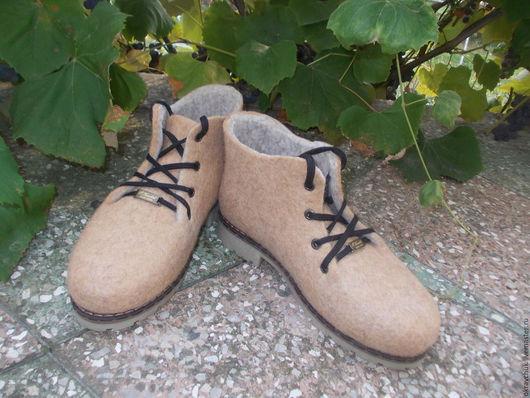 Обувь ручной работы. Ярмарка Мастеров - ручная работа. Купить Ботинки валяные с тормозами.. Handmade. Бежевый, валяная обувь