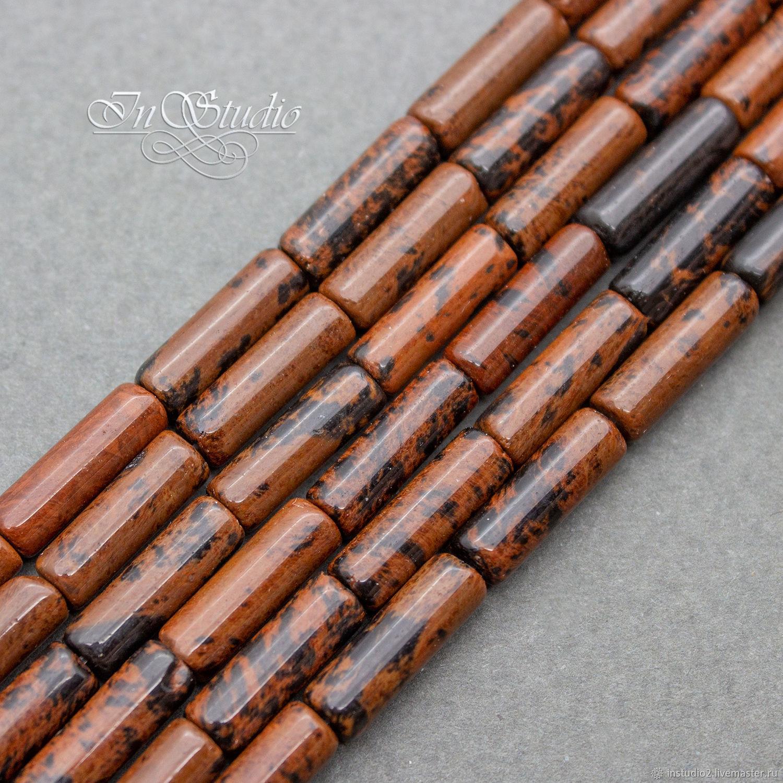 Обсидиан Махагоновый трубочки 13х4 мм бусины цилиндры, Бусины, Москва,  Фото №1