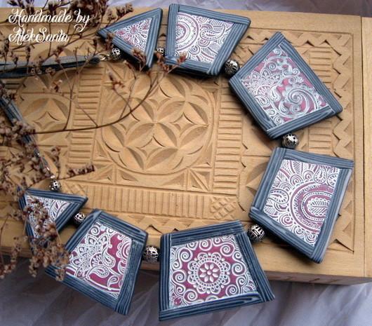 """Колье, бусы ручной работы. Ярмарка Мастеров - ручная работа. Купить Колье """"Прованс"""" (полимерная глина, розовый,серый, кружево). Handmade."""