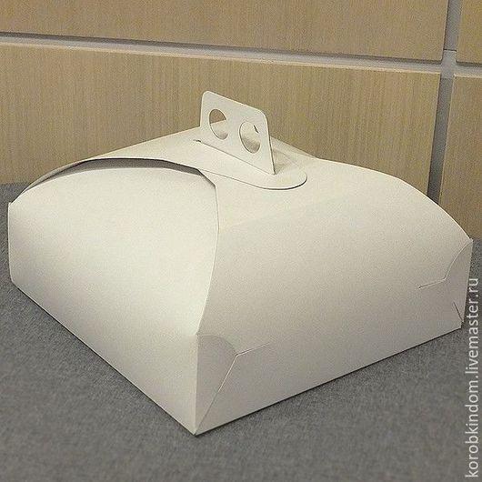 Упаковка ручной работы. Ярмарка Мастеров - ручная работа. Купить Коробка 27х27х8 см для торта белая. Handmade. Коробочка
