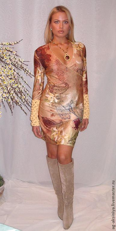 Платья ручной работы. Ярмарка Мастеров - ручная работа. Купить Платье трикотажное Нарцис. Handmade. Кремовый, платье, Платье нарядное