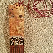 Украшения handmade. Livemaster - original item Pendant Distaff inlay with wood, Karelian birch, Russian traditions. Handmade.