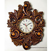 Для дома и интерьера handmade. Livemaster - original item Carved Wall Clock (lime, dial with glass). Handmade.