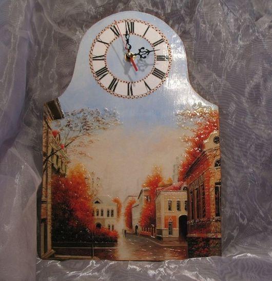 """Часы для дома ручной работы. Ярмарка Мастеров - ручная работа. Купить Настенные часы """"Московская осень"""". Handmade. Часы настенные"""