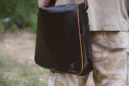 Мужские сумки ручной работы. Ярмарка Мастеров - ручная работа. Купить Сумка из натуральной кожи. Handmade. Черный, Кожаная сумка