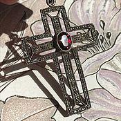 handmade. Livemaster - original item Antique cross pendant silver 925 with garnet, Holland. Handmade.