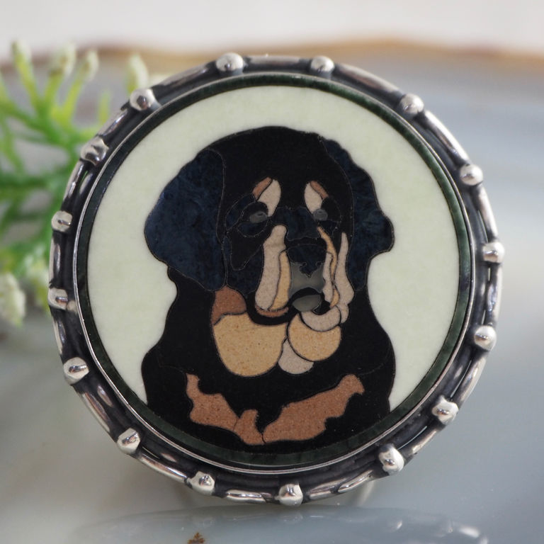 Rottweiler ring - Florentine mosaic, silver, Rings, Prague,  Фото №1