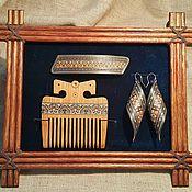 Украшения handmade. Livemaster - original item Comb made of wood, earrings made of wood and automatic barrette with i. Handmade.