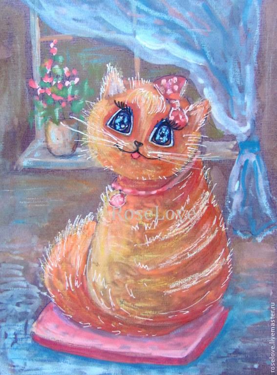 Картина для детской `Киска Мурка`)) Акварель,Кошка,Фэнтези.Авторская картина  Катерины Аксеновой.