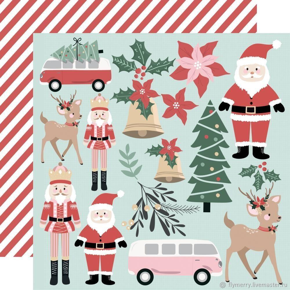 Лист двусторонней бумаги - Santa & Co - KAISERCRAFT, Бумага для скрапбукинга, Москва,  Фото №1