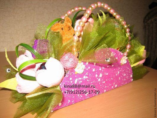 Персональные подарки ручной работы. Ярмарка Мастеров - ручная работа. Купить Сумочка с конфетками. Handmade. Сладкий подарок, органза, конфетки