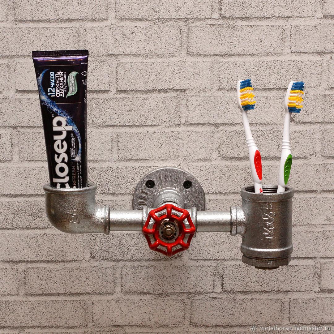 Держатель зубных щеток в стиле лофт, индастриал, стимпанк, Подставки, Москва, Фото №1