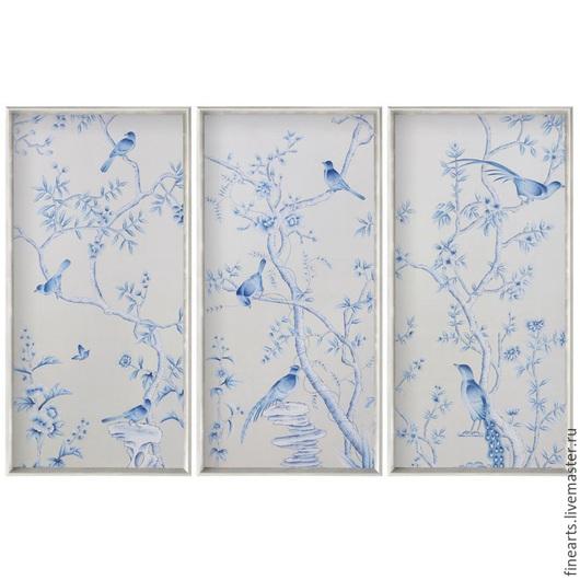 """Картины цветов ручной работы. Ярмарка Мастеров - ручная работа. Купить Панно """"Голубой сад"""". Handmade. Голубой, картина с цветами"""