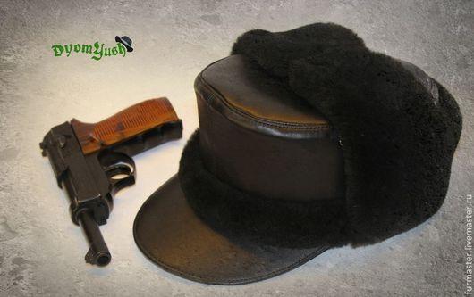 Для мужчин, ручной работы. Ярмарка Мастеров - ручная работа. Купить М43 ''зима'' (ушанка). Handmade. Черный, вермахт, подарок
