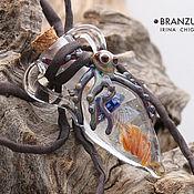 Украшения handmade. Livemaster - original item Jellyfish and octopus - bottle pendant lampwork glass cork. Handmade.