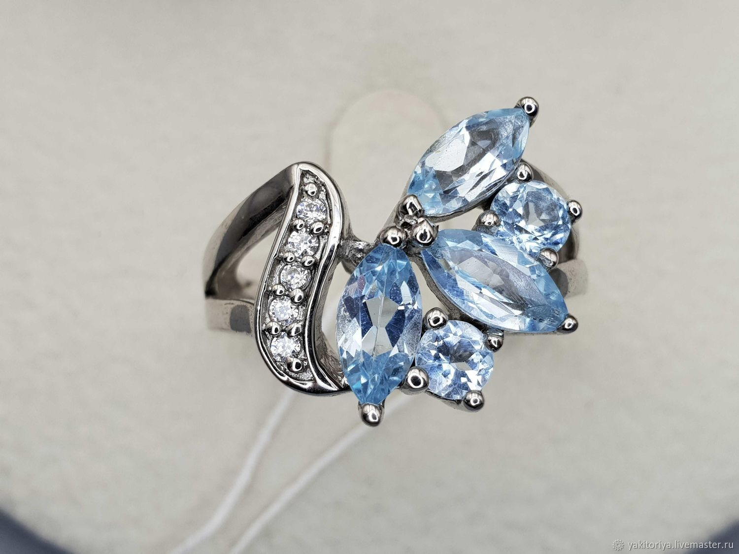 Silver ring with topaz and cubic zirconia, Rings, Moscow,  Фото №1