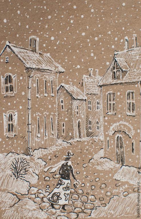 Город ручной работы. Ярмарка Мастеров - ручная работа. Купить Рождественский снег. Картина.. Handmade. Белый, снежинки, рождество