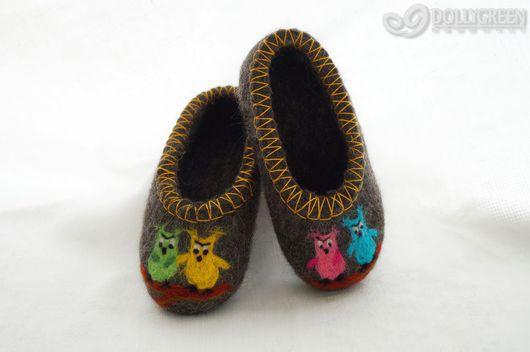 """Обувь ручной работы. Ярмарка Мастеров - ручная работа. Купить Детские валяные тапочки """"Совята"""". Handmade. Темно-серый, совята"""