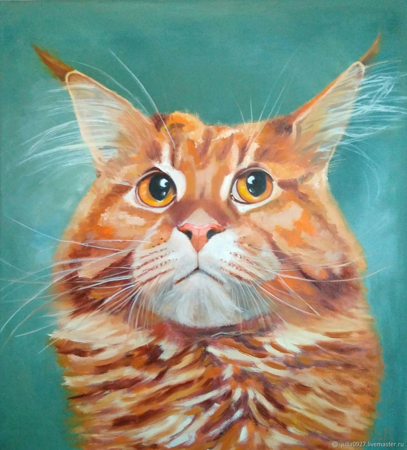 Oil painting red cat mainkun on canvas for interior, Pictures, Ekaterinburg,  Фото №1
